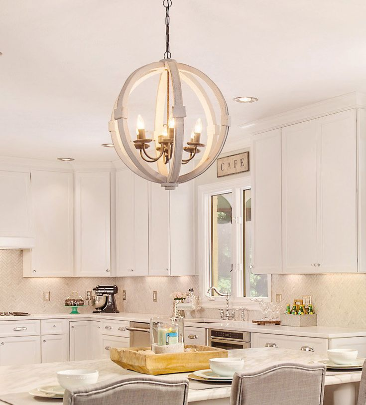 Chic Dining Room Chandeliers: Antiqued White Distressed Cottage Wood Orb Chandelier
