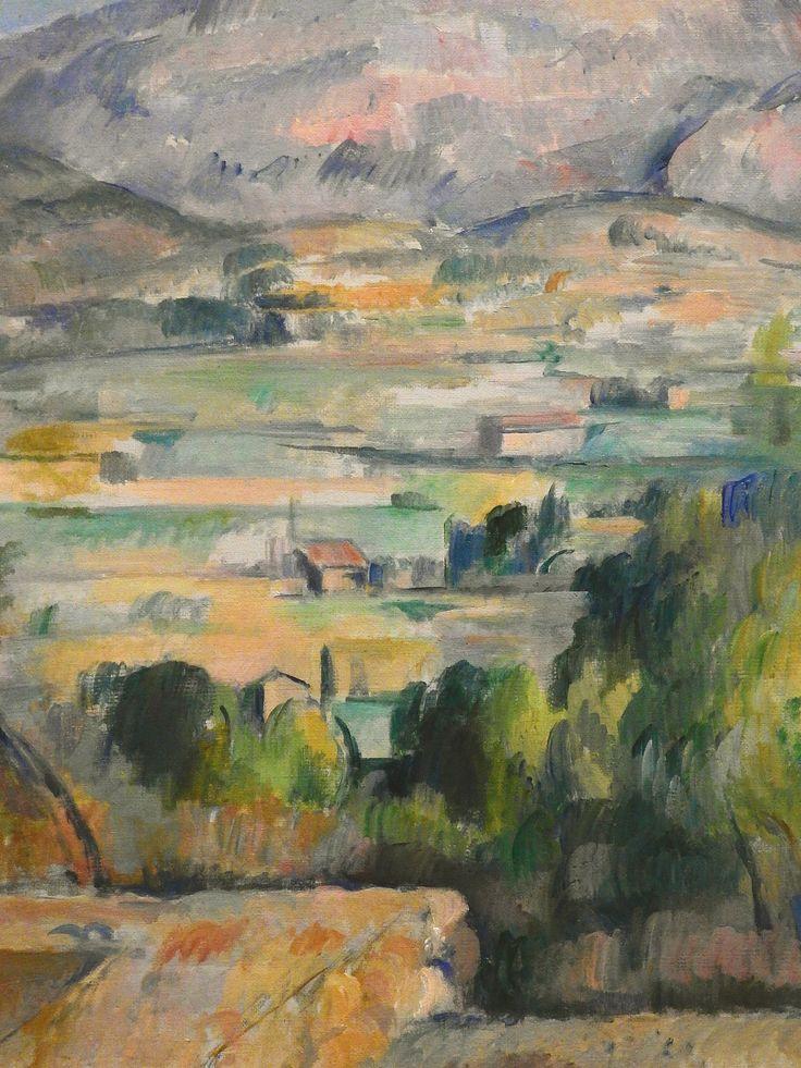 CEZANNE,1890 - Montagne Ste-Victoire (Orsay) - Detail -u : « Le soleil est si effrayant qu'il me semble que les objets s'enlèvent en silhouette non pas seulement en blanc ou noir, mais en bleu, en rouge, en brun, en violet. Je puis me tromper, mais il me semble que c'est l'antipode du modelé. » (CEZANNE à Pissarro, L'Estaque, 2 juillet 1876)