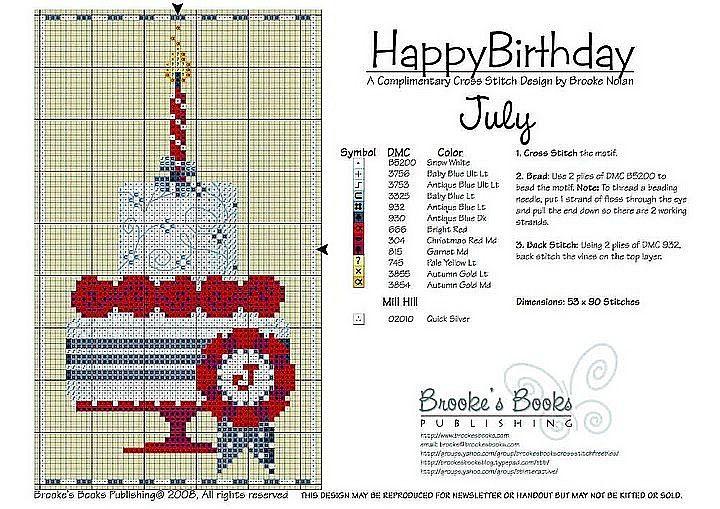 July Birthday Cake Cross Stitch Pattern   Brooke's Books Publishing