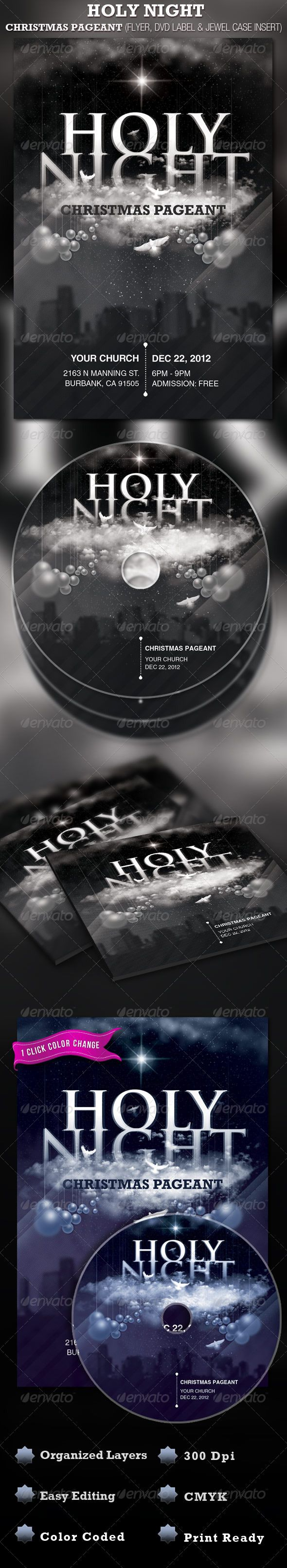 Holy Night Christmas Church Flyer and CD Label Template is geared towards usage in any Contemporary Church Event, use it for Christmas Sermons, Pageants and Musicals, etc. In this package you¡¯ll find 3 Photoshop files. All layers in the files are arranged, c