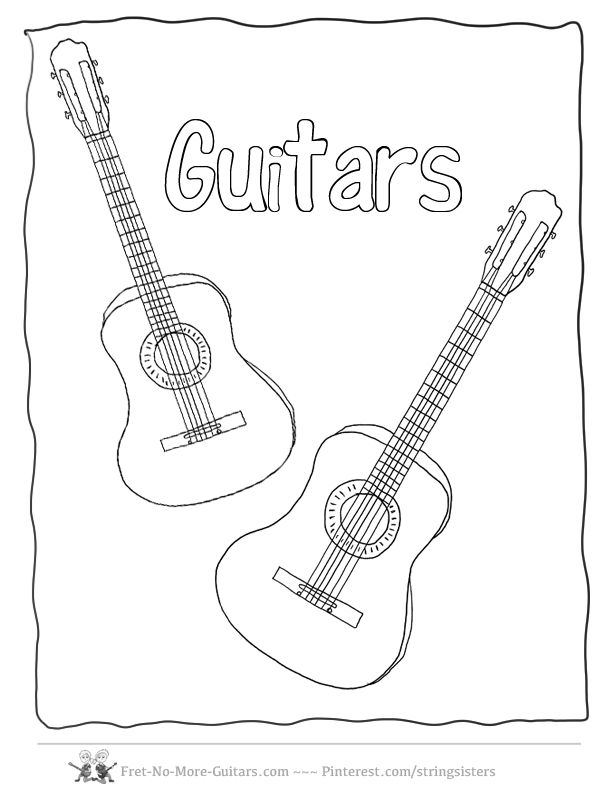 The Acoustic Guitar Coloring Pages Electric Rock Guitar Color In - guitar coloring pages pdf