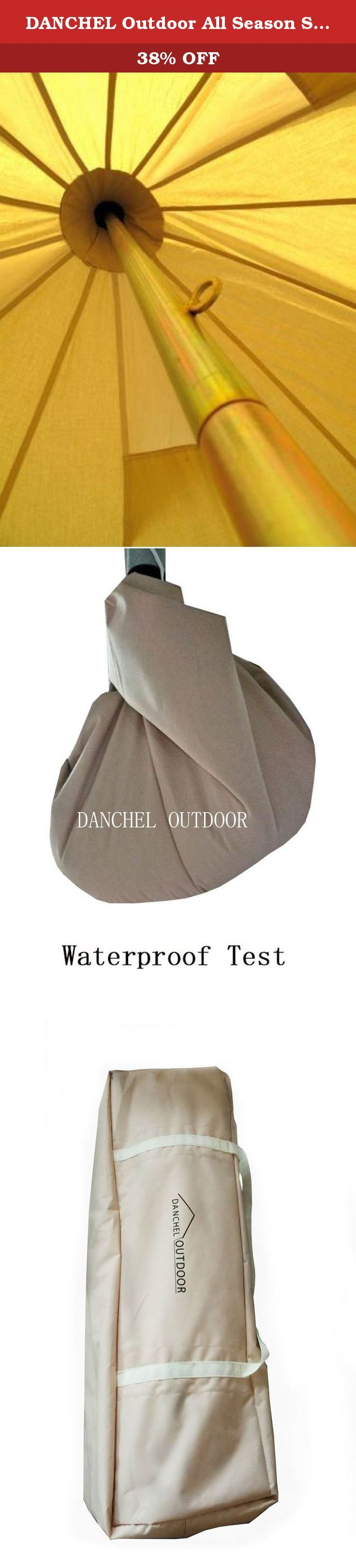 DANCHEL Outdoor All Season Sun Shade Cotton Canvas Bell Tents, Size 5M/ 16.4 Feet wit Carry Bag and Net. Feature of bell tent MATERIAL : 100% 285GSM cotton fabric, strong anti-ultraviolet, warm in winter and cool in summer. The fabric 1500MM waterproof treatment on the surface, khiki coloured; 540gsm thick PVC in bottom WINDOW and DOOR : comes with 4 zipped side windows and 4 air vents with mosquito netting on the window?for air flowing inside and outside. And come with one zipped door…