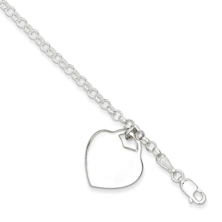 Sterling Silver Heart Bracelet,7 -- To view further for this item, visit the image link. (This is an Amazon Affiliate link and I receive a commission for the sales)