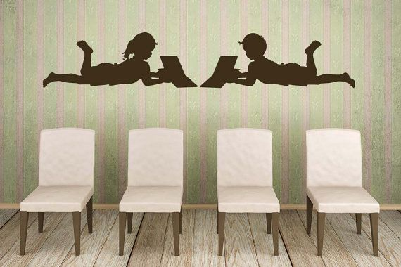 Children, Kids, Read, Reading, Book, Library, School, Novel, Girl, Boy, Siblings - Decal, Sticker, Vinyl, Wall, Home, Nursery, Daycare Decor