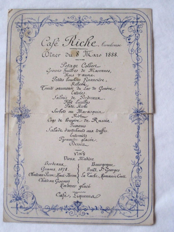 ANTIQUE FRENCH MENU CAFE RICHE TOULOUSE 8 MARS 1888   eBay