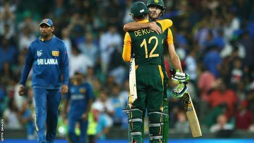 Quiton De Kock and Faf du Plessis  QF1: South Africa beat Sri Lanka by nine wickets