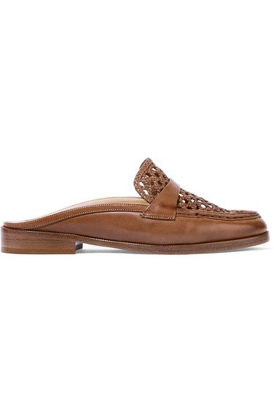 Heel measures approximately 25mm/ 1 inch Light-brown leather Slip onSmall to size. See Size & Fit notes.