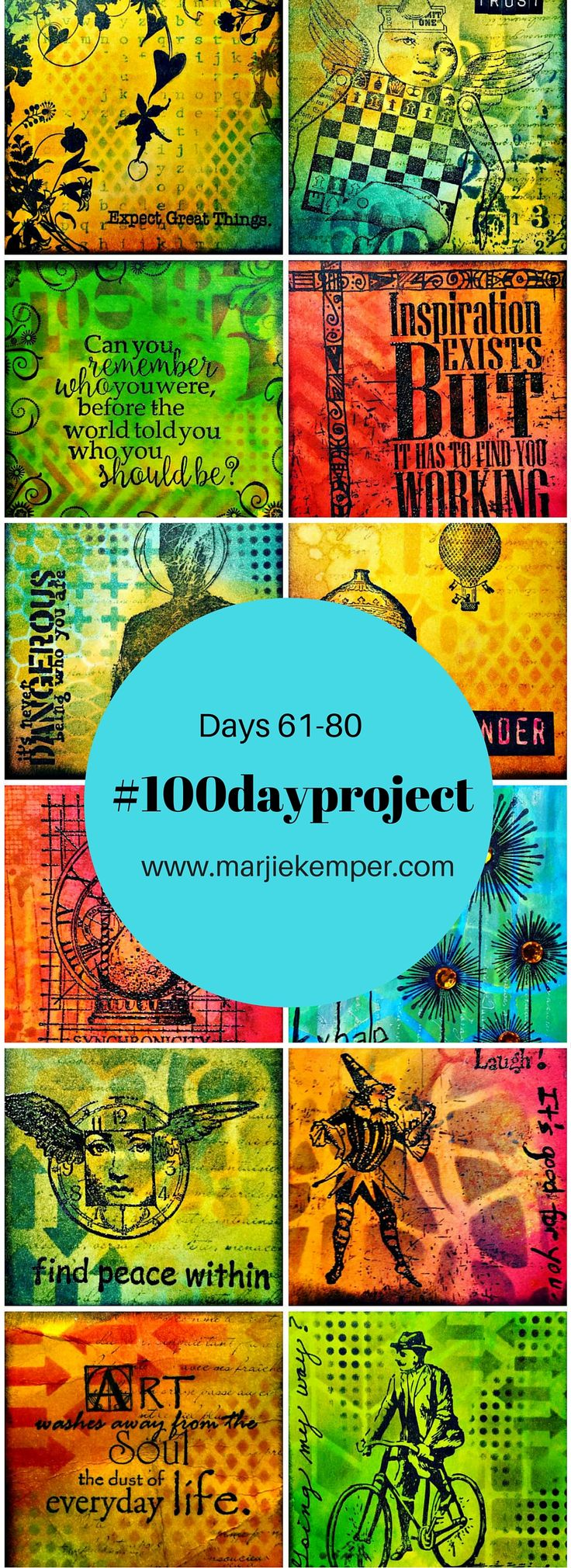 #the100dayproject Marjie Kemper Days 61-80 - mixed media art journal techniques