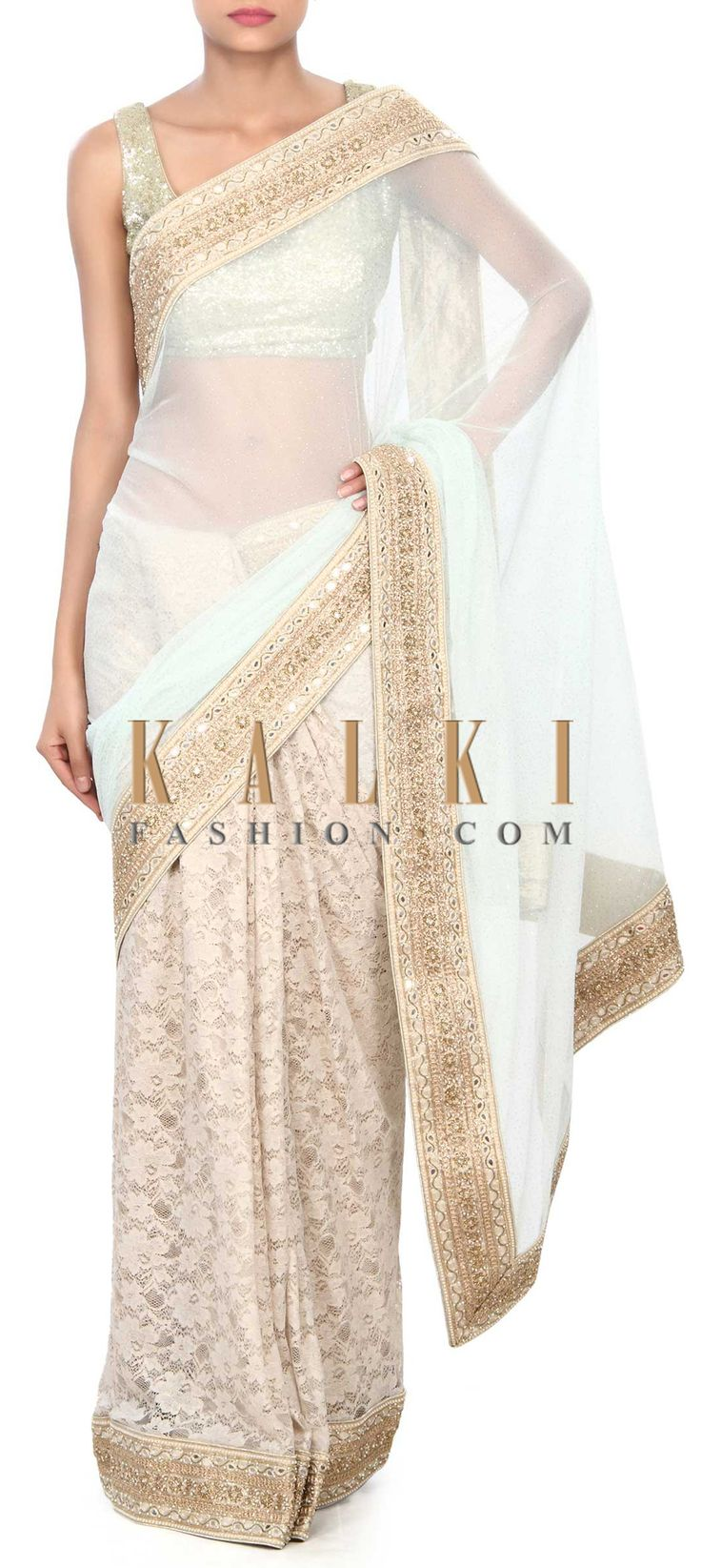 Buy Online from the link below. We ship worldwide (Free Shipping over US$100) Price- $349 Click Anywhere to Tag http://www.kalkifashion.com/half-and-half-saree-in-sky-blue-and-white-enhanced-in-mirror-border-only-on-kalki.html