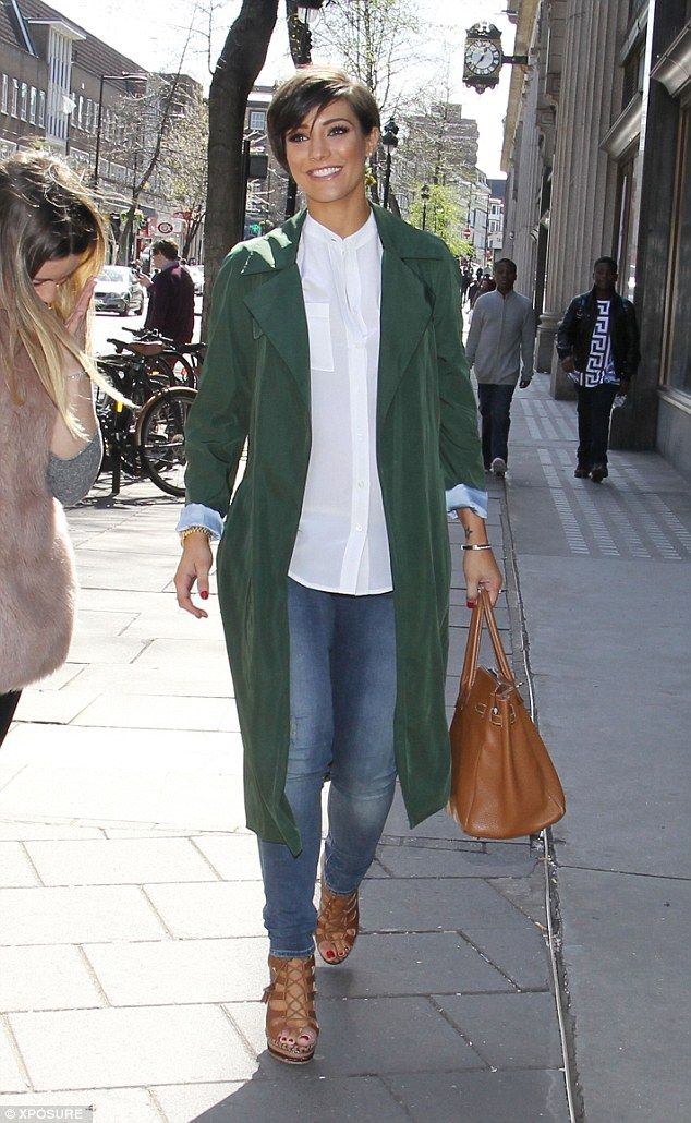 Chic: Pregnant Frankie Bridge was pictured leaving the Sunday Brunch television studios in London where she streamlined her bump with a fitted dark green trench coat