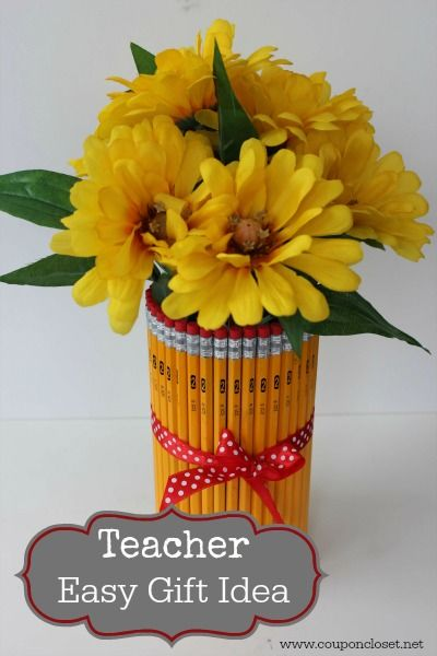 Teacher Gift Idea - Make this Easy Pencil Vase with Flowers! - everything can be bought at the dollar store! - Coupon Closet