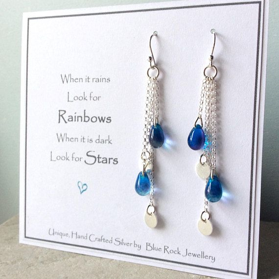 Handmade earrings, boho earrings, sterling silver and blue glass