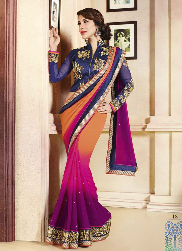 Multi Colored #Georgette #Saree For Wedding Functions Visit:http://www.indiansareestore.in/sarees