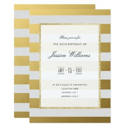 Stylish Gold & White Stripes 25th Birthday Party Card - classy gifts custom diy personalize
