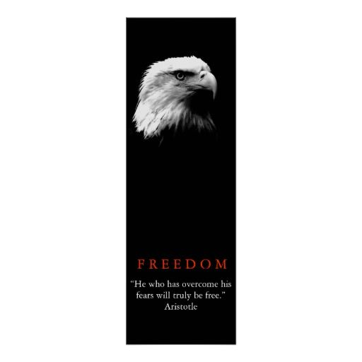 Black White Motivational FREEDOM Bald Eagle Poster