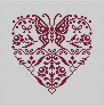 Heart with Butterfly in cross stitch