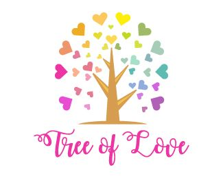 Tree of Love Logo design - Unique and colorful design logo of tree with the heart shaped leaves in mixed light color theme, simple and attractive design logo can be useful for dating websites, arts and flowers shops, services, designing and creative and more. Price $250.00