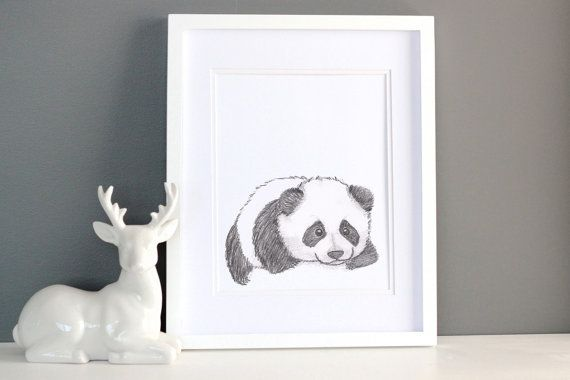 This sweet little panda print has been sketched in pencil and printed on 200gsm paper. He would look great in a monochrome or woodland themed nursery