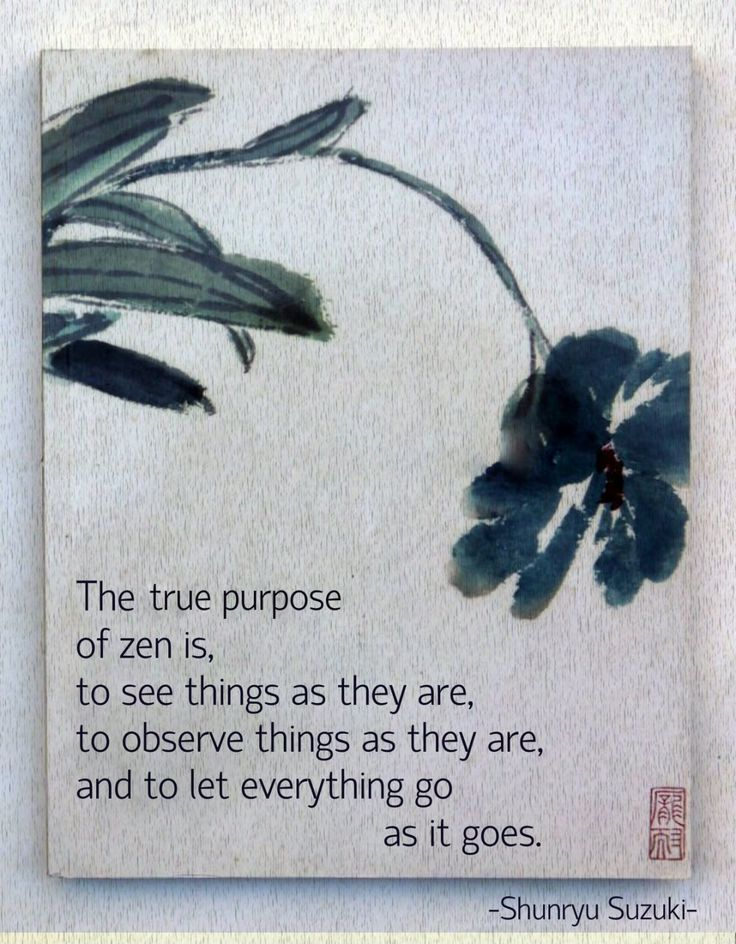 The true purpose of zen is, to see things as they...