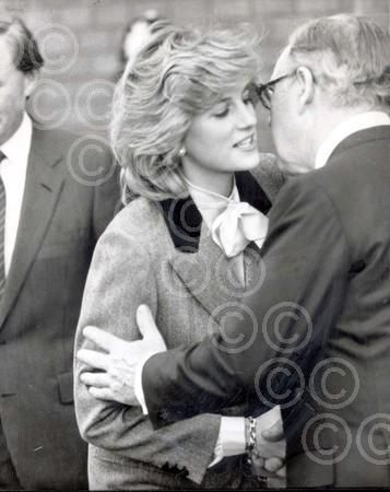 1984-04-11 Diana greets Lord King, Chairman of British Airways, on her visit to the British Airports Authority at Heathrow Airport