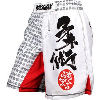 Scramble Kamon MMA Shorts,White,large