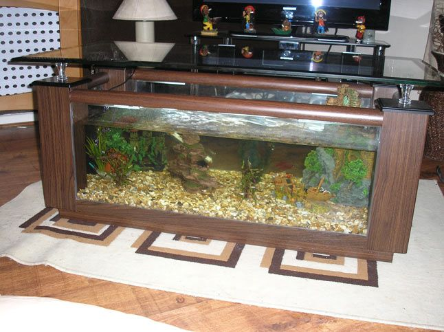 Wood Fish Tank Coffee Table