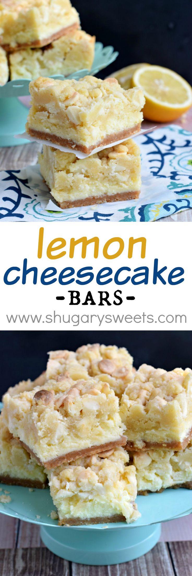 Bares limón Pastel de queso: deliciosas capas de la corteza de galletas, tarta de limón y una masa de galletas de limón en la parte superior!  En serio increíble !!