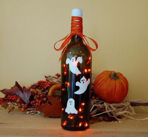 Wine bottle light Halloween decoration by LightBottlesByVicki