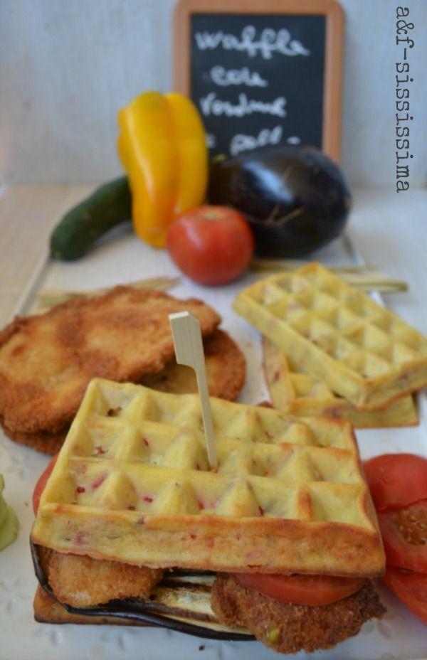 waffle al timo con verdure e pollo