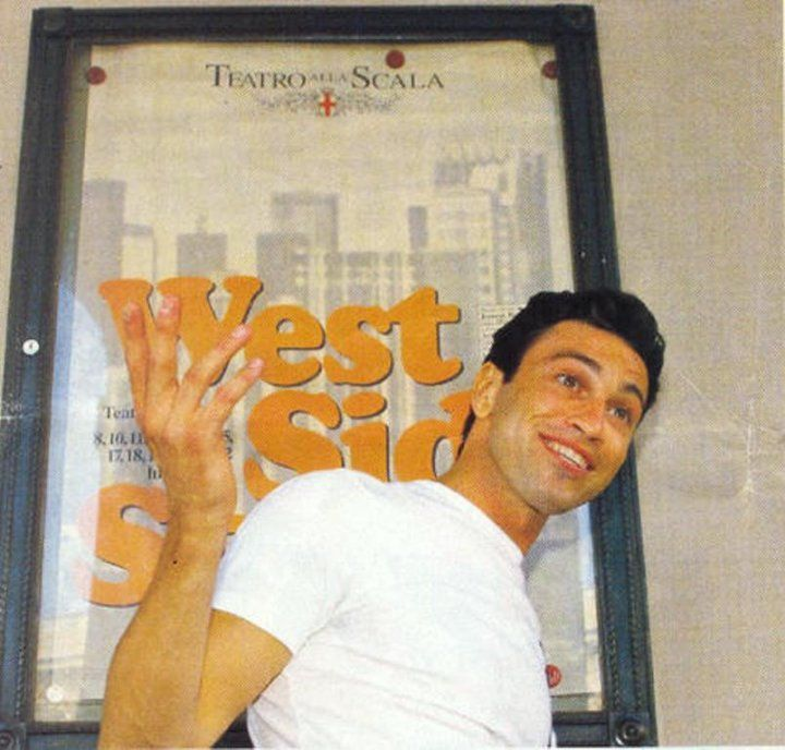 A young Mario from when he played Tony in West Side Story at La Scala