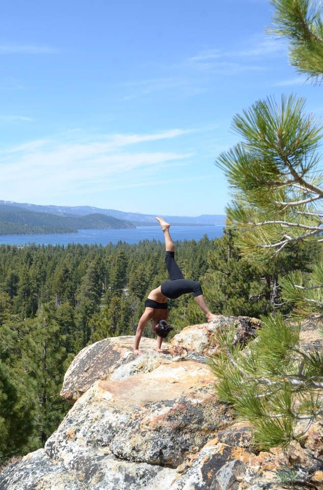 what vacation dreams are made of...    Eka Pada Urdhva Dhanurasana - Lake Tahoe, California
