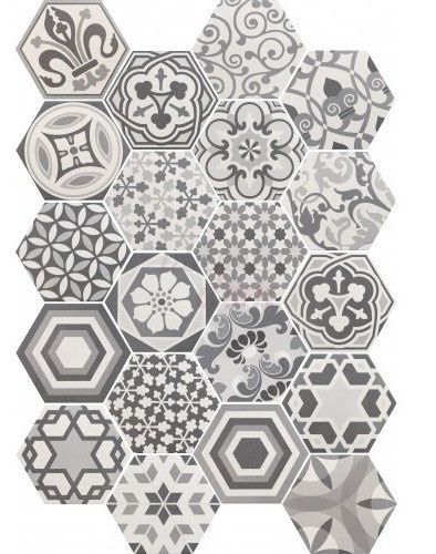 Leuke mix van grijze decor tegels zeshoekig: hexagon patchwork mix