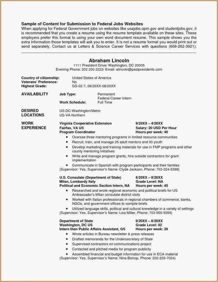 Veteran Federal Resume Samples Unique Federal Resume
