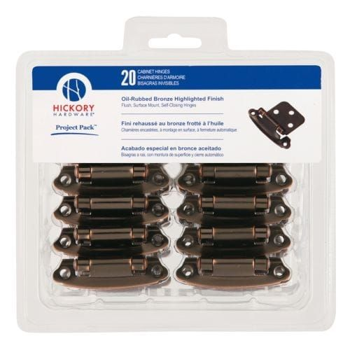 Hickory Hardware VP244 Surface Self-Closing Steel Flush Hinge (20 Pack) from the Project Packs Collection (Bronze Finish), Brown