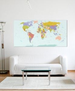 Modern World Map Canvas Print
