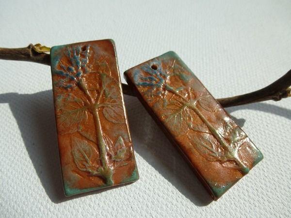 R serv 2 pendentifs pour boucles d 39 oreilles rectangulaires rouille cuivr et vert de gris d - Nettoyage cuivre vert de gris ...
