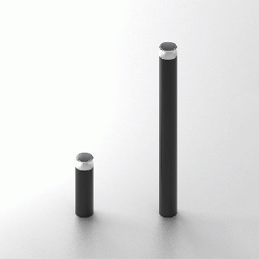 out-sider's brand new Point Sun solar powered and cable free bollard - a sturdy and super flexible urban light element, available in two heights and three standard colours. This GIF demonstrates the light function - the solar cell and LEDs are placed in the top, and light is directed downwards in a circle.