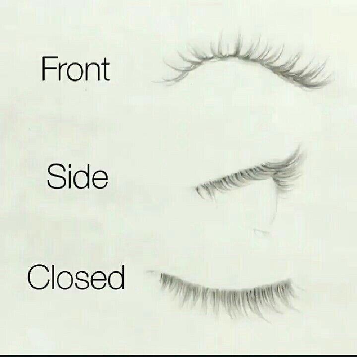 Wie man Wimpern aus verschiedenen Perspektiven zeichnet. Vorder-, Seiten- und geschlossene