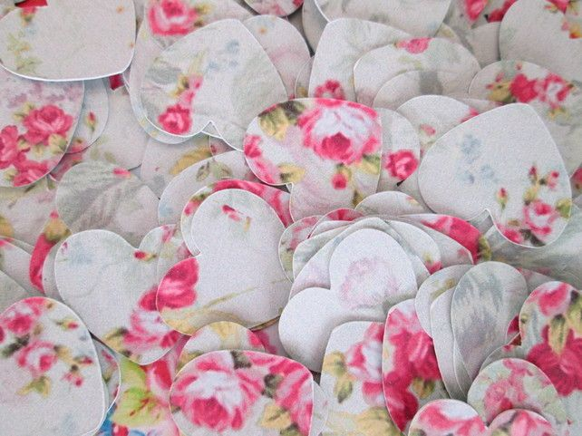 Vintage Rose Shabby Chic Heart Table Confetti £1.99