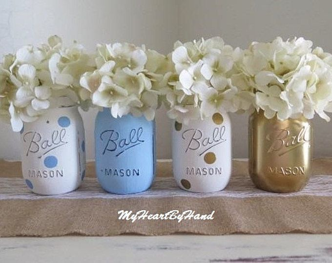 Baby Shower, Baby Boy Baby Shower, Gift Baby Boy Shower, Baby Shower Centerpiece, Baby Shower Decor, Baby Shower Gift, Painted Mason Jars