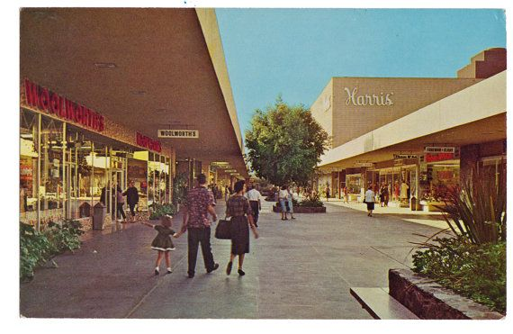 Vintage Riverside Plaza Mall Postcard California by thecedarchest