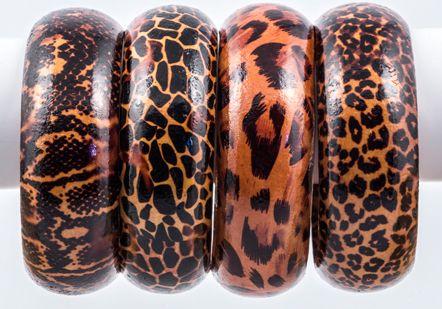 Animal print wooden bangles - 2603