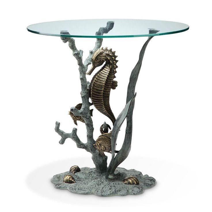 Superior Beauty Of The Sea Accent Glass End Table Ocean Coastal Nautical Mermaid    EBay