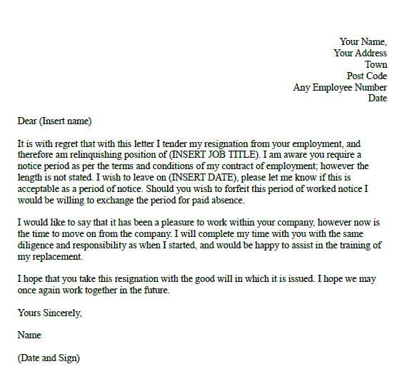 Notice Of Resignation Template Resignation Letter With 30 Day - resignation letters no notice