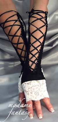 Extra Long French Maid Lace Up Fingerless Gloves - Black & White - Madame Fantasy