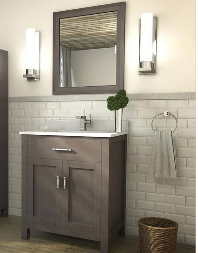 Art Kelia 30 Inch Bathroom Vanity French Gray Finish Hand