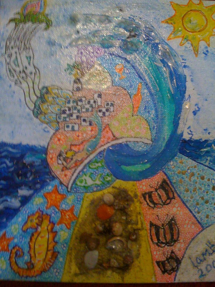 Acrylics, shells and marker pens on canvas board. A present for a friend. Inspired by Ios island, Greece