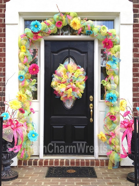 Deco mesh spring garland...Love how colorful and cheery this is