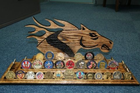 """Navy Chief Warrant Officer/Limited Duty Officer (CWO/LDO) Mustang – 3 tier coin display, made from oak wood. 24"""" wide X 11 ¼"""" tall. Anchor Not Included. Free Shipping within the United States. I gladly ship to APO/FPO.  Want something custom? Just send us your ideas and we can start designing it on our computer program. We can send you a computerized picture of what your product will look like before we actually cut it out, and you can make any changes to the final design... all before you…"""