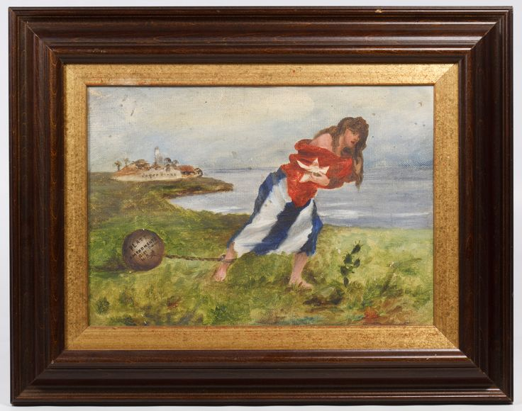 """Lot 247: Unknown Artist (American, 19th / 20th Century) """"Platt Amendment"""" Oil on Canvas; c.1902, unsigned, depicting a female wrapped in a Cuban flag with weighted ball attached to her ankle"""